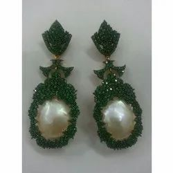 Black Spinner and Baroue Pearl Silver 925 Earring