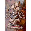 Copper Repousse - The Invincible Durga - Large Wall Decor