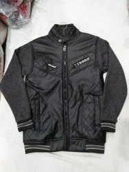 Full Sleeve Leather, Woolen Designer Mens Black Jacket