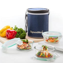 Signoraware Office Executive Glass Lunch Box, 3