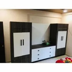 Brown, White Free Unit Wooden TV Cabinet, For Home