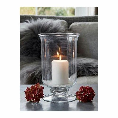 Round White Glass Hurricane Candle Holder
