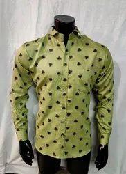 Cotton/Linen Men's Chinese Collar Polka Dots Fancy Shirt