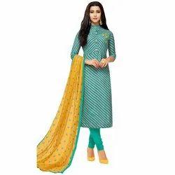 Rajnandini Grey Chanderi Silk Printed Semi-Stitched Dress Material With Printed Dupatta