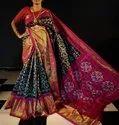 Double Ikkat Handwoven Silk Saree / Patola Silk Saree With Golden Border - Ethnics Land