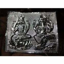 Laxmi Ganesh Silver Religious Frame Statue