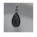 Natural Black Rutilated Quartz Pear Shaped Silver Pendant