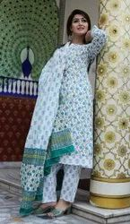Straight Blue Printed Rayon Fabric Kurti And Plazo Set
