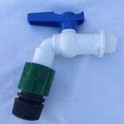 White & Blue Water PVC Bib Cock Tab, Size: 1/2 Inch