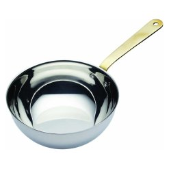 Sharda Corproation Stainless Steel Mini Wok With Brass Handle, Size: 110 X 50 Mm