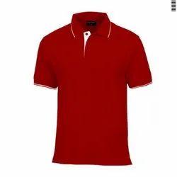 Half Sleeve Cotton Men Plain Polo Neck T Shirt, Size: Small to XXL