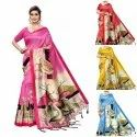 Duck Printed Art Silk Saree With jhlar