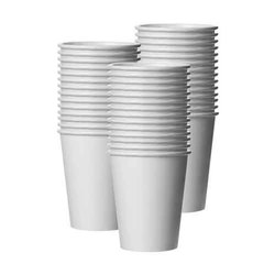 4-5 White Disposable Paper Glasses, 0.6-1mm