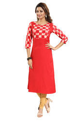 Red Checks Crepe Kurti