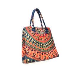 Multicolor Rexine Traditional Printed Handbag 9e92f537eeb78