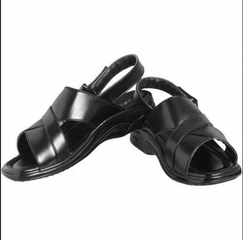 1be4a08c2 Leather Pu Action Men Black Sandals, Rs 749 /pair, Shree Tirupati ...