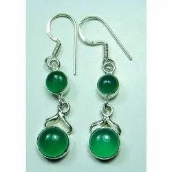 925 Sterling Silver Green Onyx Quality Earrings