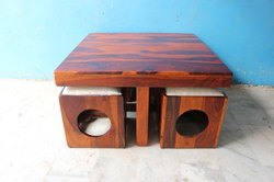 Solid Wood 4 Seater Coffee Table set
