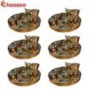 Choozee - Copper Thali Set of 6 (60 Pcs) Thali, Bowl, Spoon, Matka Glass and Ice-Cream Cup