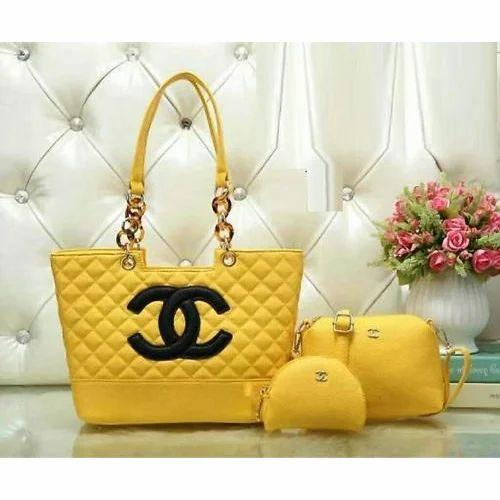 1b4b5438a2 Party Wear Plain Yellow Ladies Combo Bags