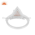 CZ Rose Quartz Gemstone Triangle Shape Sterling Silver Ring Jewelry
