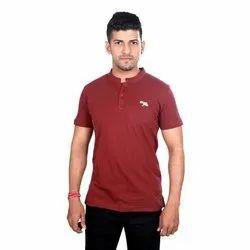 Cotton Mandarin Collar T-Shirt, Size: S - XXL