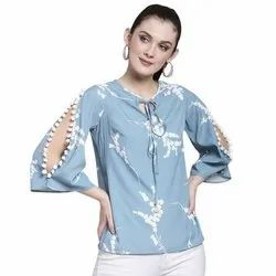 Ladies Tunic Top With Pom Pom Lace