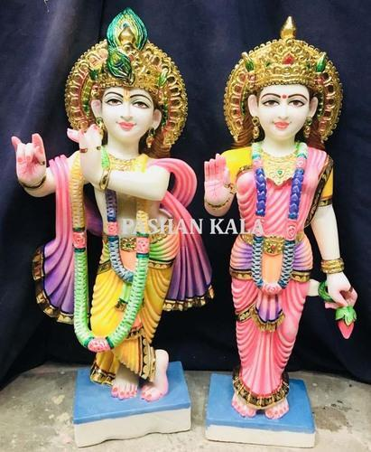 White Hindu Stone Radha Krishna Idol For Worship Size 12 To 66