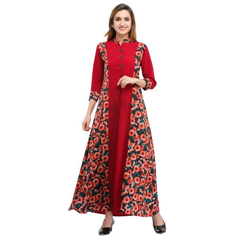 af8d3f006ff2 Cottinfab Crepe 3/4th Sleeves Printed Maxi Straight Dress, Rs 999 ...