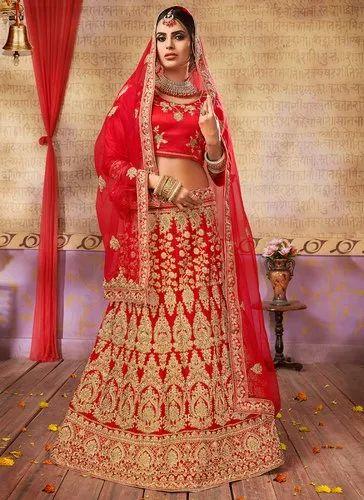 a0343979ab Red Satin Silk Wedding Wear Designer Lehenga Choli, Dupatta Fabric: Net