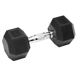 Delux, Rubber Molded Hexagonal Dumbbell in black color, Weight: 10-20 Kg