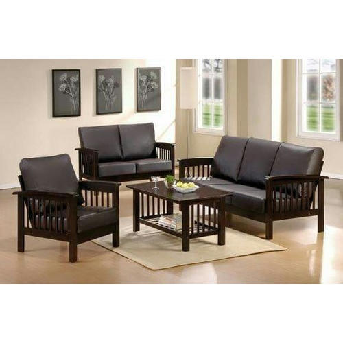 Wooden Dark Brown Sofa Set