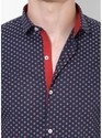 Printed Navy Blue Full Sleeve Men Casual Cotton Shirt