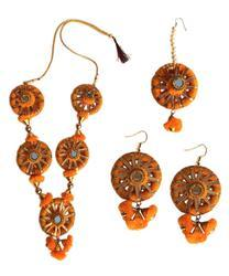 Handmade Orange Gotta Patti/ Floral Necklace Jewellery Set