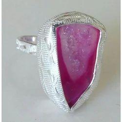 Handmade Druzy Gemstone Exclusive Brass Silver Plated Ring