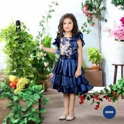 Blue Plain Classic Navy Frilled Designer Party Frock