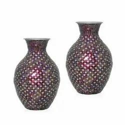4737 Red Metal Vase
