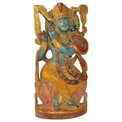 Hand Made Wooden Krishna Statue
