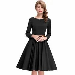 Black Fit and Flare Western Dress