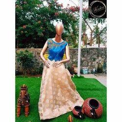 Meshira Party Wear Chanderi Silk Skirt Top
