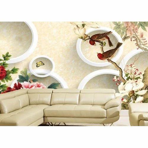 White Dining Room 3D Wallpaper