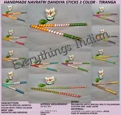 Navratri Special Dandiya Sticks-Beautiful Bandhej And Golden Brocade Laces-Party Decor-Festival Wear