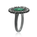 Natural Green Emerald Pave Diamond Baguette 925 Solid Silver Designer Ring