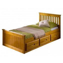 Brown Wooden Single Bed