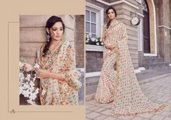 Ladies Retro Print Linen Saree Length: 5.5 m