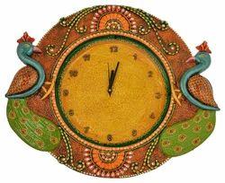 Kundan Peacock Wall Clock