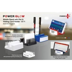 Powerglow Mobile Stand With Pen And Visiting Card Holder ( Grass Style)
