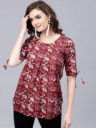 Cotton Maroon Colour Printed Tunic