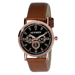 ROSE GOLD,COPPER METAL Leather Analog Men's Watch