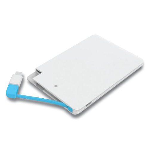 White Card Shape Power Bank, Battery Type: Li-polymer, Capacity: 2500 Mah